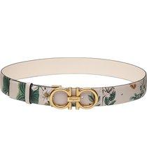 women's salvatore ferragamo gancini floral print reversible leather belt, size 75 - wildflower print / bone