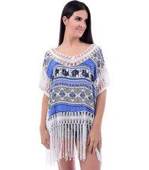 blusa bali beach franja branca/azul