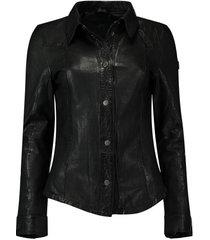 leren blouse zwart