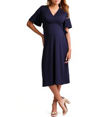 women's ingrid & isabel flutter sleeve knit wrap maternity/nursing dress, size small - blue