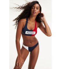 tommy hilfiger women's colorblock cropped swim top tango red / navy - m