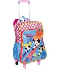 mochila infantil sestini meninas super poderosas bolso 2 em 1 com rodinhas