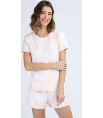pijama feminino em moletom canelado estampado tie dye manga curta rosa