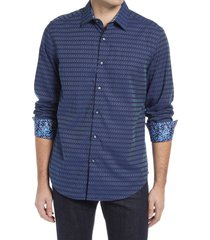 men's robert graham cubist classic fit dobby stripe button-up shirt, size large - blue