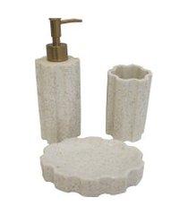 kit para banheiro de resina - off white