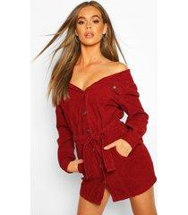 cord off the shoulder belted denim shirt dress, burgundy