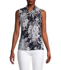 tommy hilfiger women's floral-print v-neck top - midnight ivory - size m