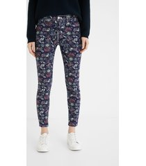 skinny cropped trousers flowers - blue - 46