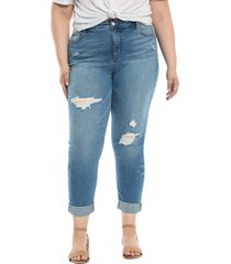slink jeans distressed high waist boyfriend jeans, size 16w in myla at nordstrom