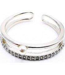 anillo micropave cintillo solitario perla baño rodio cristal blanco sara k