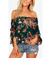 blusa con hombros descubiertos y estampado floral al azar verde en las mangas