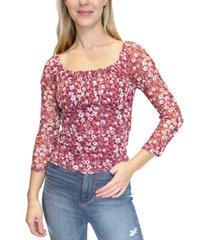 crave fame juniors' floral-print mesh raglan-sleeve top