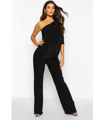 maternity drape sleeve jumpsuit, black