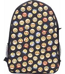 mochila oxford emoji casual para mujer -negro