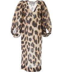 ganni maxi leopard tunic dress