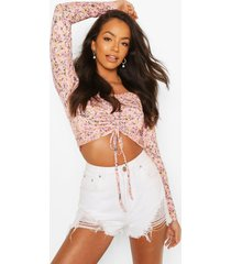 floral print ruched front crop top, pink