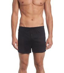 men's hanro cotton sporty knit boxers, size x-large - black