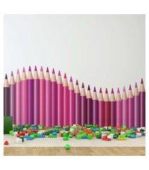 adesivo de parede quartinhos infantil lapis de cor onda tons de rosa