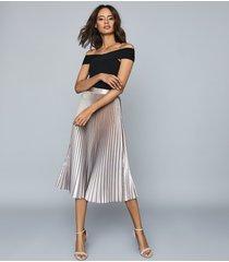 reiss betty - pleated metallic midi skirt in pink, womens, size 12