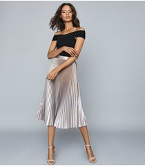 reiss betty - pleated metallic midi skirt in pink, womens, size 14