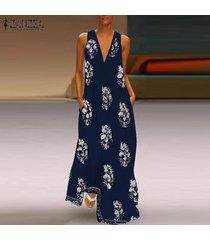 vestido largo playero zanzea para mujer-azul marino