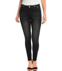 jeans con hebilla negro bunnys
