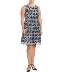 plus printed fit & flare dress