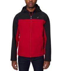 men's zip-front color block soft shell hoodie