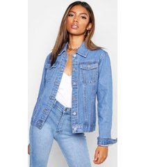 fitted jean jacket, mid blue