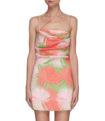 frisco' palm print asymmetric spaghetti strap drape satin mini dress