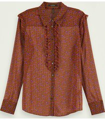 scotch & soda transparante blouse met lange mouwen en knoopsluiting