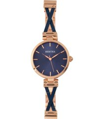 bertha quartz amanda collection rose gold and blue stainless steel watch 36mm