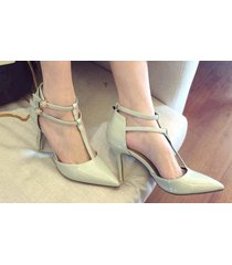 pp314 cutie t-type strappy pointy pump in candy color, us size 4-8.5 gray