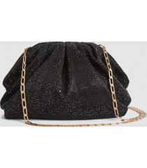 reiss ellena - embellished pouch clutch in black crystals, womens
