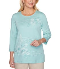 alfred dunner cottage charm floral embroidered humming bird top