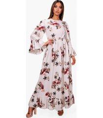 maxi jurk met franjeszoom en mouwen, ivoor