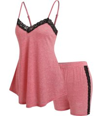 lace insert cami top and shorts lounge set