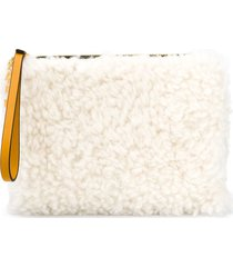 marni logo charm shearling clutch - yellow