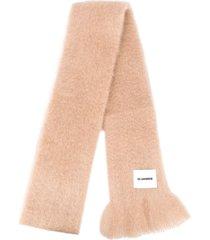 jil sander fringed-edge winter scarf - neutrals
