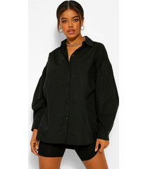 geweven oversized blouse, black
