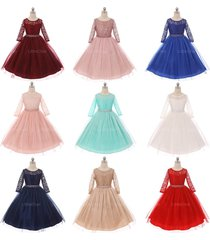 long sleeve stretchy lace bodice tulle skirt with belt flower girl dress