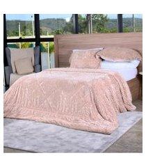 cobertor slim peles king com porta travesseiro  taupe - tessi