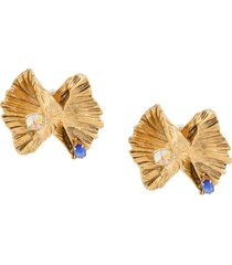 saint laurent heritage bow shell clip-on earrings - gold