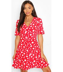 button through polka dot skater dress, red
