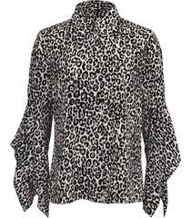 leopard silk draped-sleeve blouse