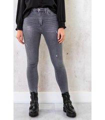 high waist skinny jeans damaged grijs