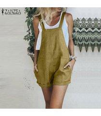 zanzea más el tamaño de las mujeres con tiras informal hotpants mono mameluco playsuit el traje tops (no incluye la camisa) -amarillo