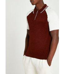 river island mens rust towelling zip short sleeve polo shirt