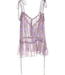 purple silk semi-sheer ruched fruit blouse