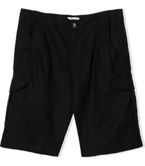 paolo pecora black cotton-linen blend shorts